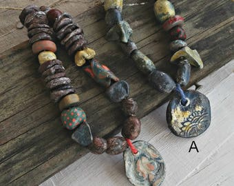 Ceramic Beads Pendant Necklace, Primitive Clay Necklace Mix Beads, OOAK Artisan Beads, Tribal Organic Jewelry, Bold Savage Necklace Unisex