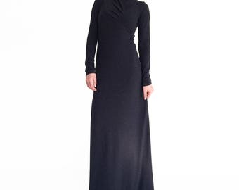 Black maxi dress/ Long sleeve dress/ Minimalistic maxi dress/ Fall fashion/ Black dress plus size/ Long black dress/ modest dress ARGENTA