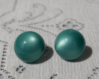 Teal Domed Button Screwback Earrings