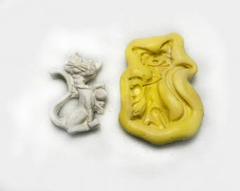 cat mold , cat silicon mold, Silicone mold ,push mold, food supplies mold, clay supplies molds, # 295  s
