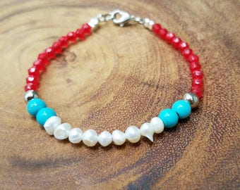 Freshwater Bracelet with Red and Turquoise Beads