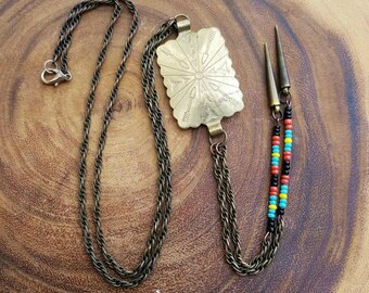 Concho Necklace, Bolo Necklace with Vintage Concho Belt Link