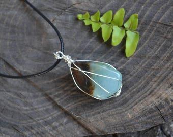 Chrysoprase Stone Necklace, Chrysoprase Wire Wrapped Necklace, Natural Stone Necklace, Christmas Gift, Chrysoprase Jewelry, Autumn Jewelry