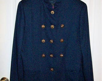Vintage 90s Ladies Navy Blue Military Look Blazer Jacket by Ice Nine Size 12 Only 12 USD