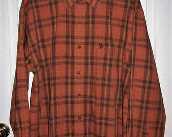 Vintage Men's Burnt Orange Plaid Long Sleeve Shirt by Knights Sportswear Extra Large Only 8 USD