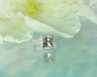 Princess Cut Engagement Ring, Unique Princess Cut Ring, Princess Cut, Princess Cut Ring, Herkimer Diamond Ring, Diamond Alternative