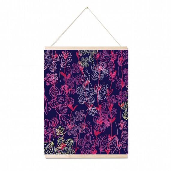 Chalk Flowers A3 wall art Print.Botanical  Poster Illustration. wall decor.gift