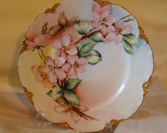 Haviland Hand Painted Plate From France, Beautiful Apple Blossom Floral Pattern