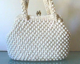 Vintage Raffia Handbag With Faceted Bead Detail