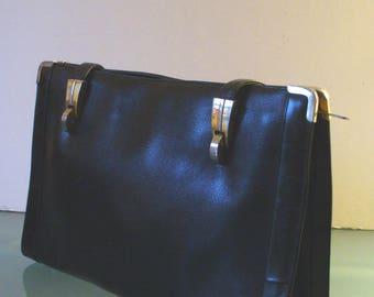 Vintage Koret  Black Leather Hand Bag