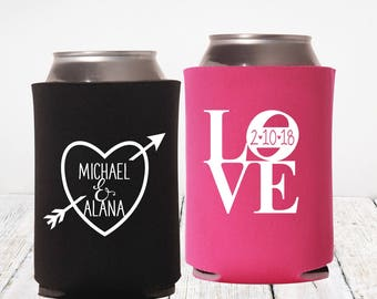 Personalized Wedding Can Cooler | Iconic LOVE | Heart Wedding Favor | Valentines Day Wedding | FREE Shipping