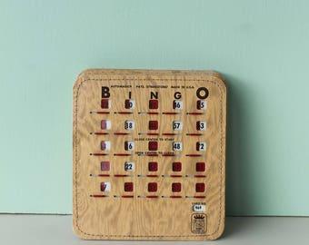 BINGO Cards, Woodgrain with sliders, Vintage Bingo, 5 cards