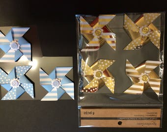 7 Pinwheels, Blue and White, Gold and White, Buttons, Polka Dots, Striped, Cards, Scrapbook Page