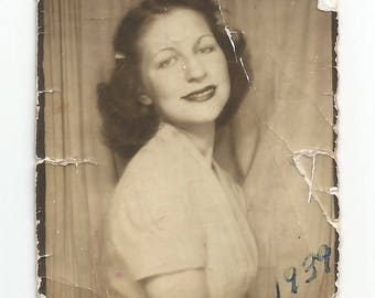"""Vintage Snapshot """"Well-Loved"""" Photobooth Lovingly Carried In A Wallet For Quite A While 1939 Found Vernacular Photo"""