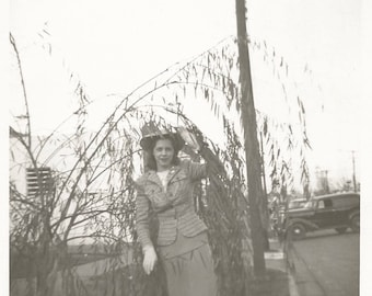 """Vintage Photo """"Hiding Out"""" Young Woman In The Bushes 1940's Fashion Found Vernacular Photo"""