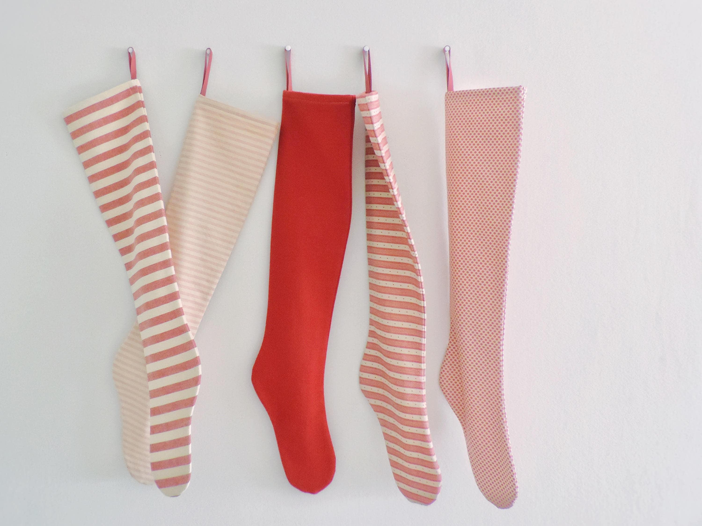 Christmas Stocking Personalized, Modern Scandinavian Red Striped  Personalized Christmas Stocking, Family Holiday Stockings, Long, Decoration