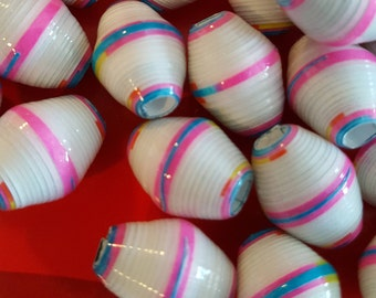 Paper beads handmade striped