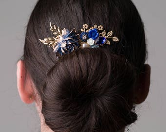 Sapphire Blue Gold Wedding Comb Navy Blue Bridal Hair Accessories Dark Blue Floral Headpiece with Leaves Bridesmaid Hair Slide Gift