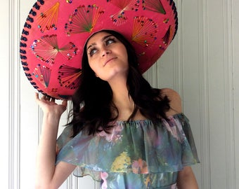 vintage Sombrero Mexican Pigalle Traditional large Pink Velvet sparkly and glam Mariachi Band Hat