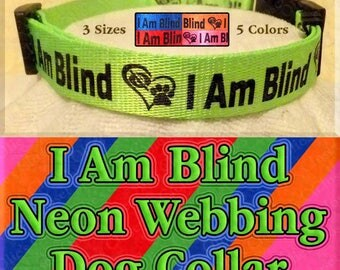 I Am Blind Neon Webbing Dog Collar Available In 5 Colors & 3 Sizes