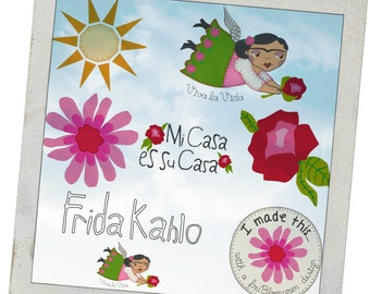 FLYING FRIDA under the Mexican Sun, Beautiful FRIDA is flying to you in 2 sizes and with an additional 7 designs to make cute Frida Projects