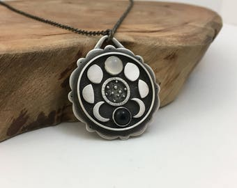 Moon Phases & Galaxy Pendant - Sterling Silver Moonstone Onyx Handcrafted Art Jewelry Necklace