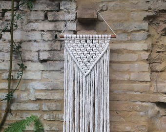 Triangle Modern Macrame Wall Hanging on a Copper Pole