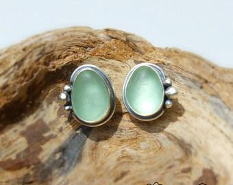 Hawaiian Aqua Beach Glass Set in Sterling Silver Handcrafted Bezel set Earrings Studs
