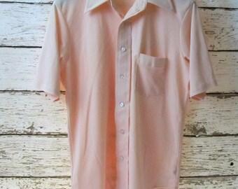 VAN HEUSEN Vanknit Splendor Short Sleeve Peach Polyester Vintage Shirt Sz 15-1/2