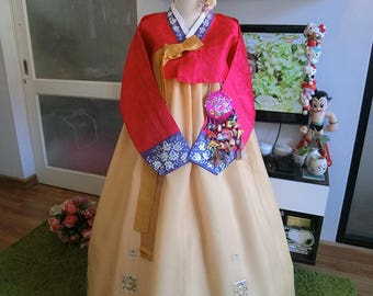 "Classic Red Handmade Hanbok 40""chest, 165 cm.tall"