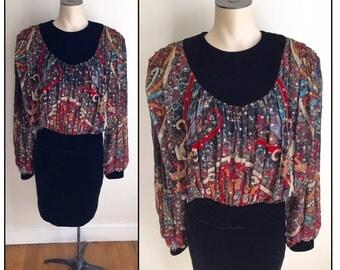 "Vintage 1980s Wayne Clark Couture Long Sleeve Dress 34"" Bust 29"" Waist 4 6"