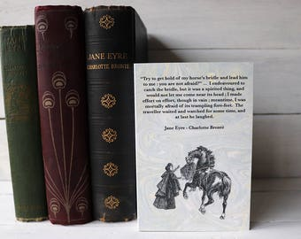 Jane Eyre card  - Charlotte Brontë - Mr Rochester on horseback - black horse - literary quotation - bookish card - light blue card - marbled