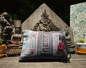 Vintage Hmong Textile Clutch Purse, Indigo Batik Textile Vintage Purse, Indigo Batik Textile, Vintage Textile Clutch, Hmong Clutch