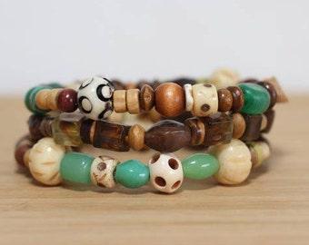 Morning Dawn Light, Bracelet Set, Wood Bracelet, Stackable Bracelet, Hippie Jewelry, Festival Bracelets, Traveler Gift