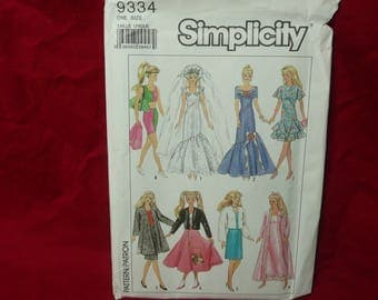 Simplicity Sewing Pattern 9334, Barbie Clothes Waredrobe