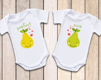 Twins Perfect Pair Onesies® T-Shirt,  Twin Baby Clothes, Twins Gender Neutral Onesies, Twins boy girl, Twins Baby Shower Gift, Twin Outfit