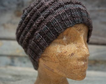 Merino Wool Beanie Hat - Hand Knit - Ready to Ship