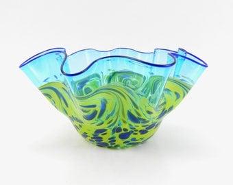 Large Hand Blown Art Glass Bowl