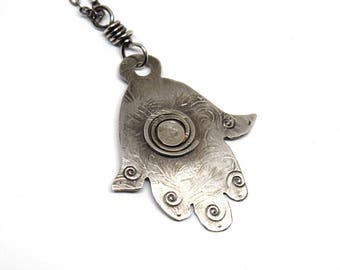 Sterling Silver Hamsa Pendant with Spirals