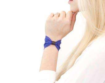 Lace Wrist Cuff Bow Bracelet Bowtie, Lace Cuff Wide Lace Bracelet, Wristband Stretch Purple Bracelet Wrist Tattoo Cover Up Covers Scar Cover