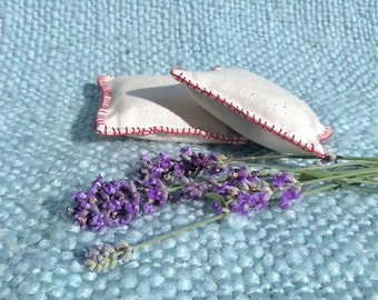 Embroidered linen lavender sachets, lavender pillows, lavender bags; cottage chic, rustic home decor, housewarming gift