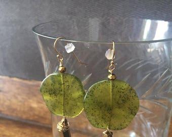 Green Earrings Gold Filled