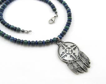 Native American Semi-Precious Gemstone Beaded Necklace, Pewter Four-Directions Round with Feathers Pendant, Men's Jewelry, Dreamcatcher