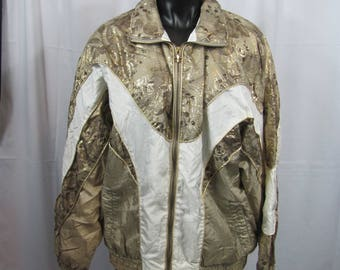 Vintage Womens 80s/90s Gold Metallic Floral Windbreaker Zip Up Jacket Over Sized Nylon Athletic Workout Jacket