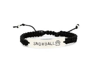 Paw Print Bracelet, Pet Memorial Jewelry, Pet Bracelet, Personalized bracelet, Custom Engraved Bracelet, Paw Print Bracelet