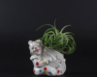 Vintage White Porcelain Clown Planter - Polka Dot Circus Clown Planter Made in Japan