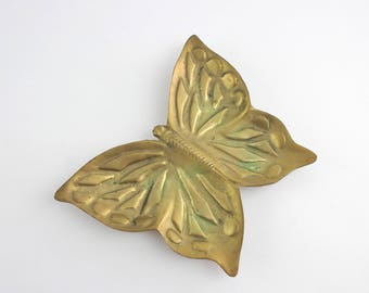 Vintage Brass Butterfly Trinket Dish - Jewelry Holder Catch All Dish