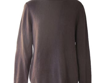 Vintage Charter Club Brown Cashmere Turtleneck Sweater Size XLarge