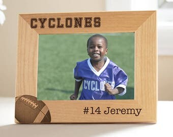 Personalized Football Picture Frame: Engraved Wood Football Picture Frame, Youth Football Picture Frame, Football Team Gift SHIPS FAST