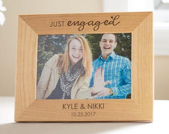 Personalized Engagement Picture Frame: Just Engaged, Custom Engraved Engagement Gift, Just Engaged Gift, Newly Engaged Frame, SHIPS FAST